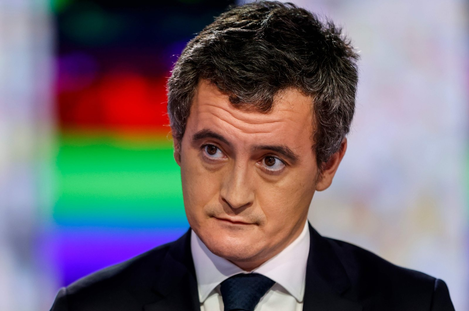 French Interior Minister Gerald Darmanin waits prior to taking part in the evening news broadcast of French TV channel France 2 in Paris, France, on Nov. 26, 2020. (AFP Photo)