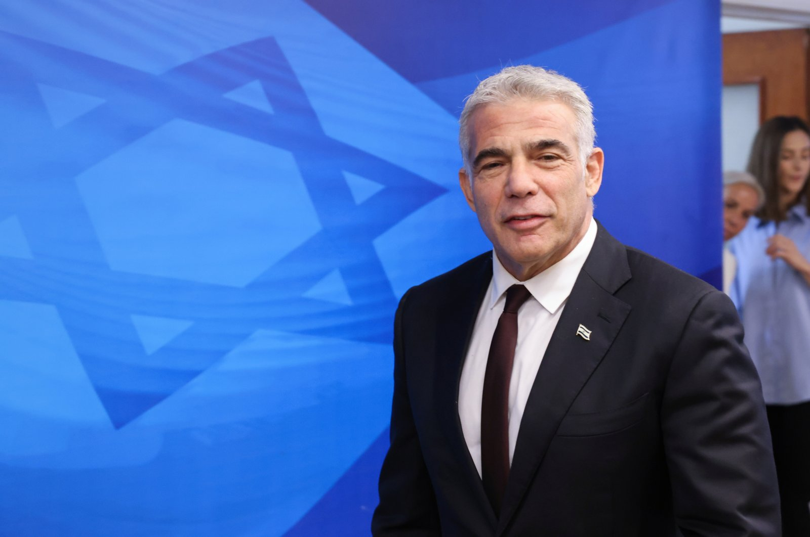 Israeli alternate Prime Minister and Foreign Minister Yair Lapid arrives to attend the first weekly cabinet meeting of the new government in Jerusalem, June 20, 2021. (Reuters Photo)