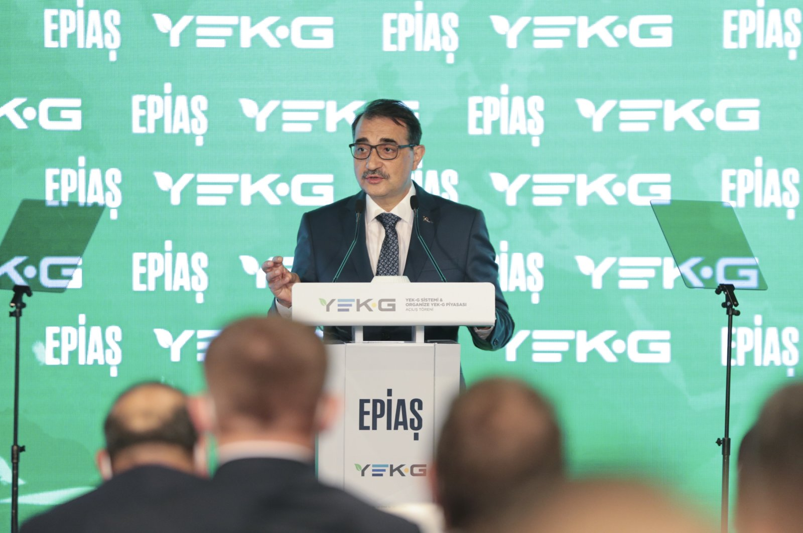 Energy and Natural Resources Minister Fatih Dönmez speaks during opening ceremony of YEK-G System and the YEK-G Market, Istanbul, Turkey, June 21, 2021. (AA Photo)