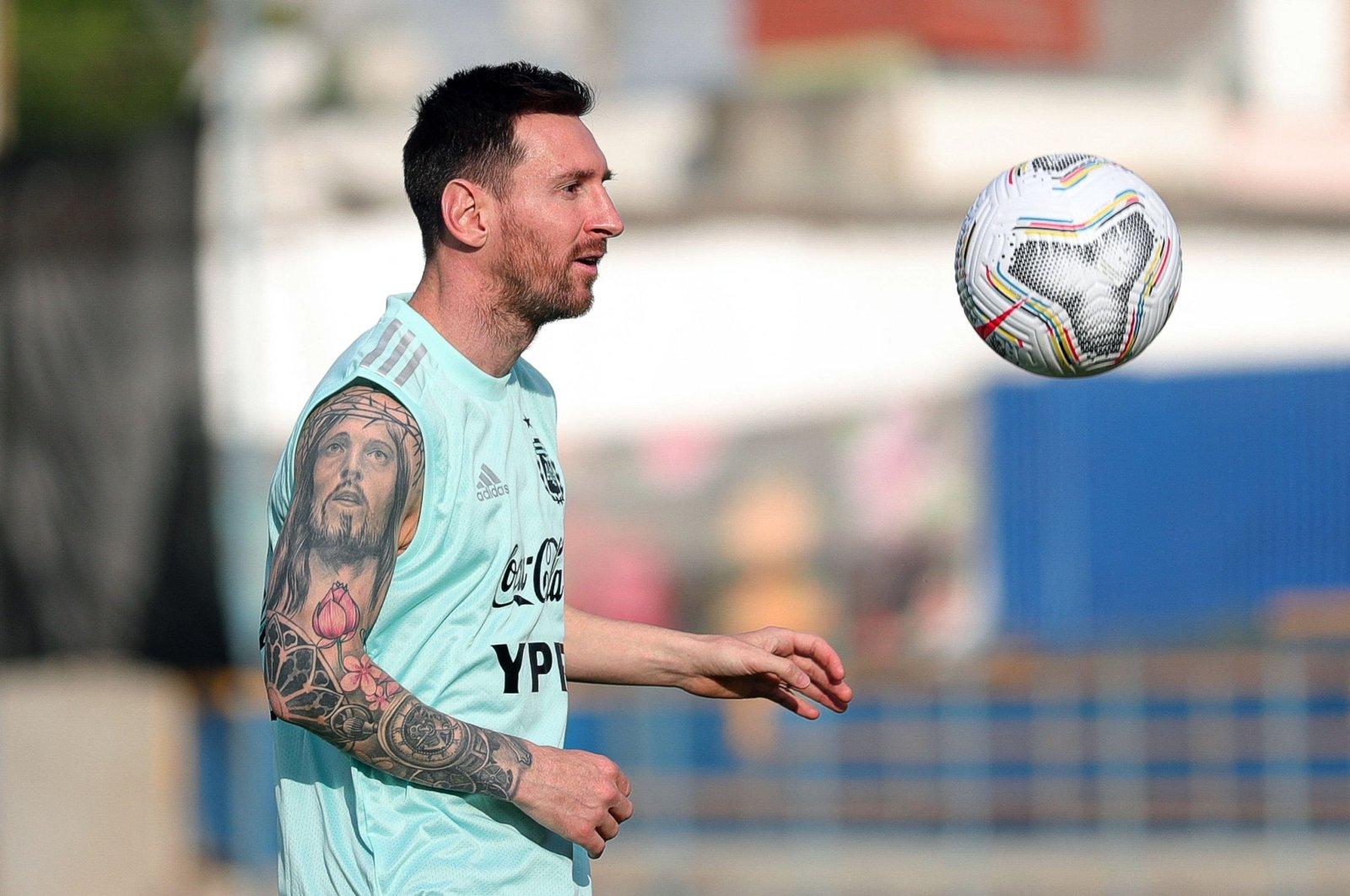 Argentine forward Lionel Messi during a training session in Brasilia, Brazil, June 20, 2021. (Argentinian Football Association/AFP Photo)