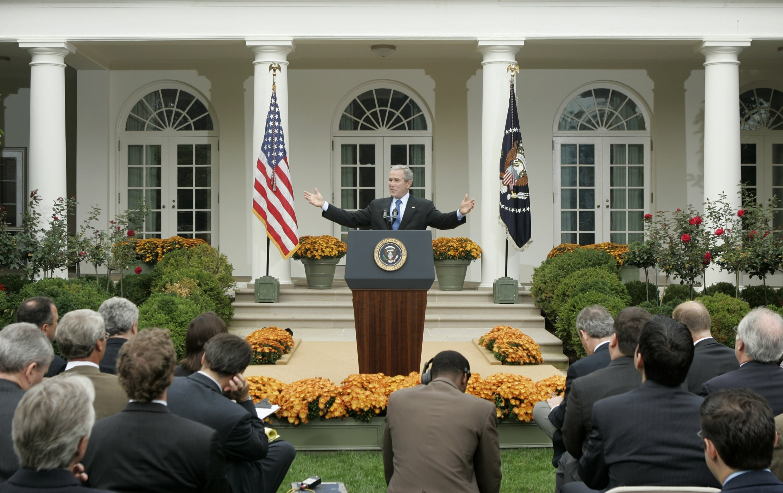 U.S. then-President George W. Bush gestures during a press conference in the Rose Garden of the White House, Washington, U.S., Oct. 11, 2006. (AP Photo)