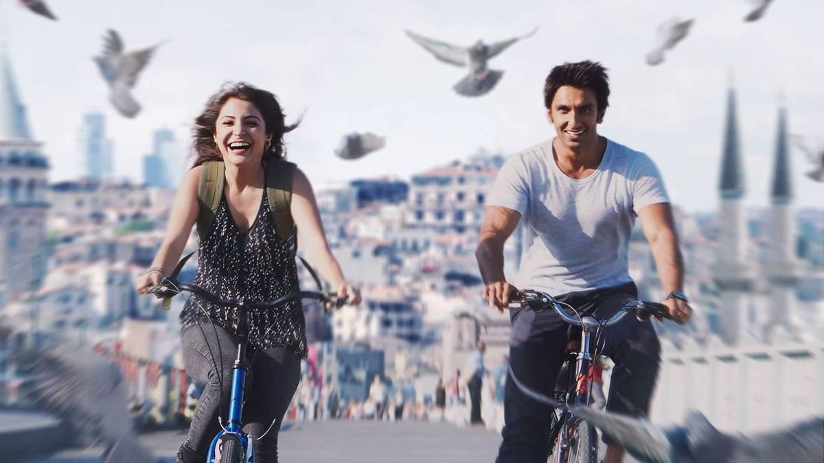 """A still shot from """"Dil Dhadakne Do"""" (""""Let the Heart Beat"""") shows actress Anushka Sharma and actor Ranveer Singh with a view of Istanbul in the background."""