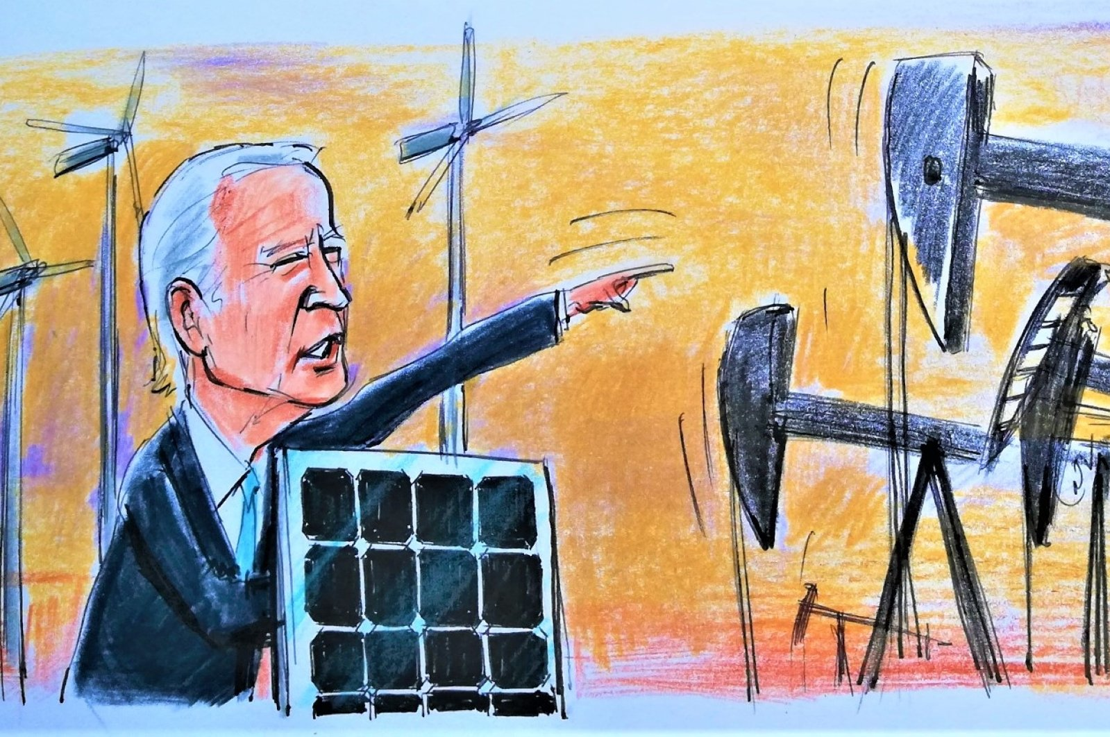 An illustration by Erhan Yalvaç shows U.S. President Joe Biden speaking on the U.S.' new energy policy road map.