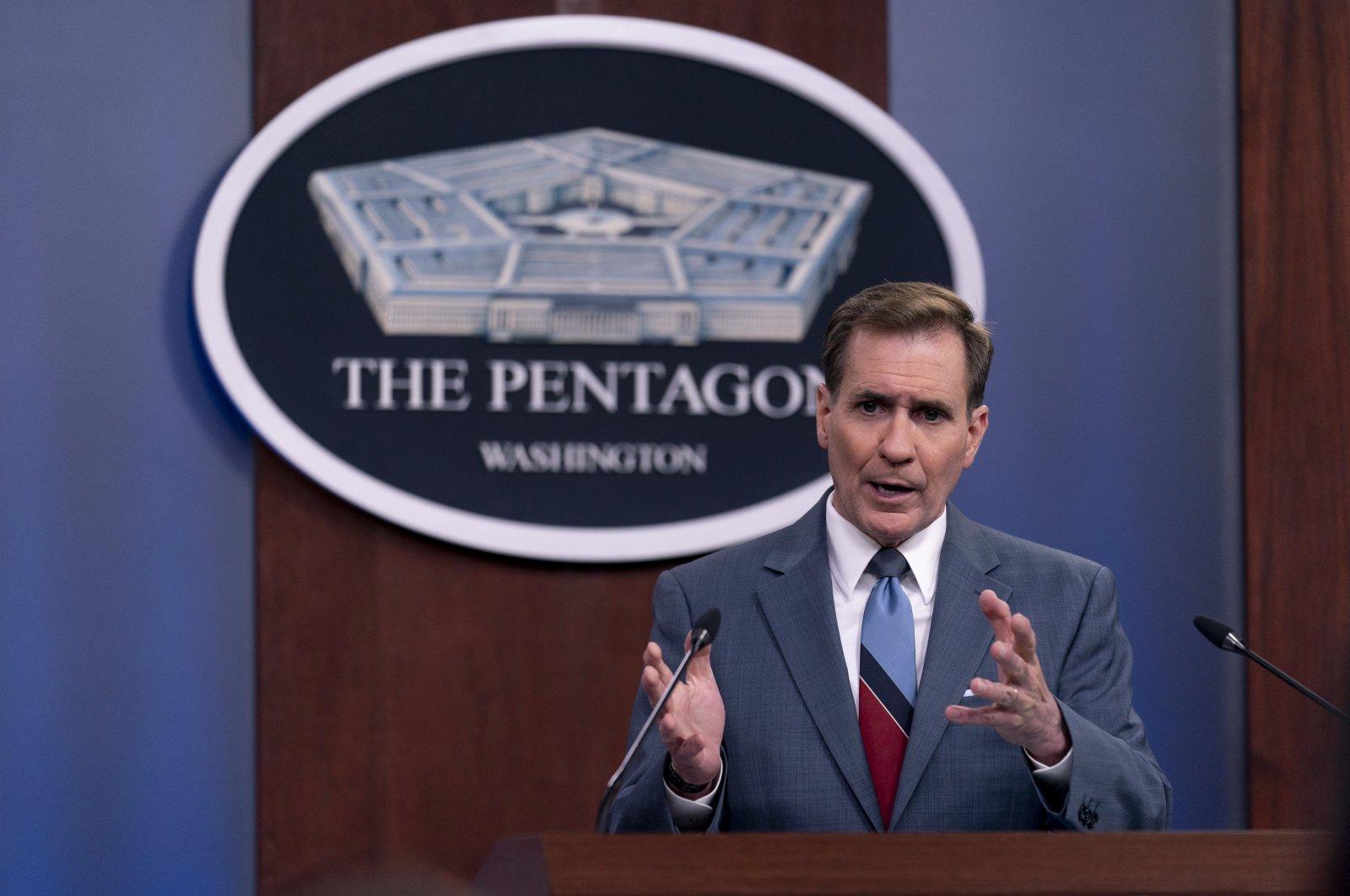 Pentagon Press Secretary John Kirby speaks during a media briefing at the Pentagon in Washington, May 26, 2021. (AP Photo)