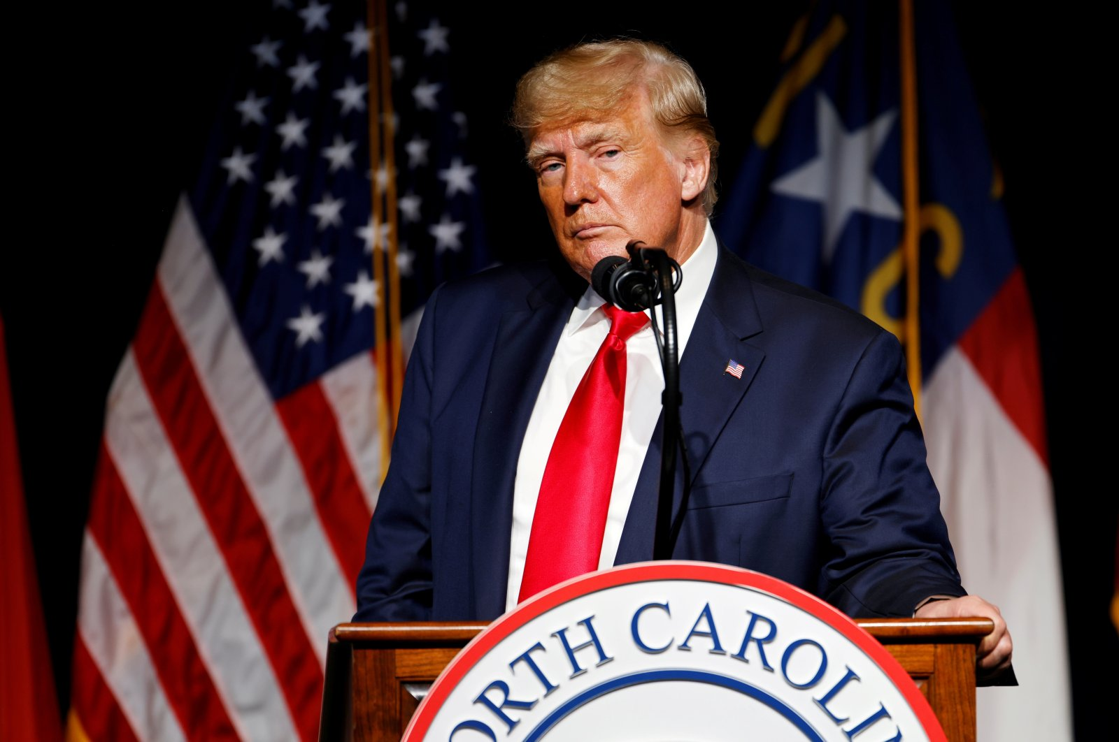 Former U.S. President Donald Trump pauses while speaking at the North Carolina GOP convention dinner in Greenville, North Carolina, U.S., June 5, 2021. (Reuters Photo)