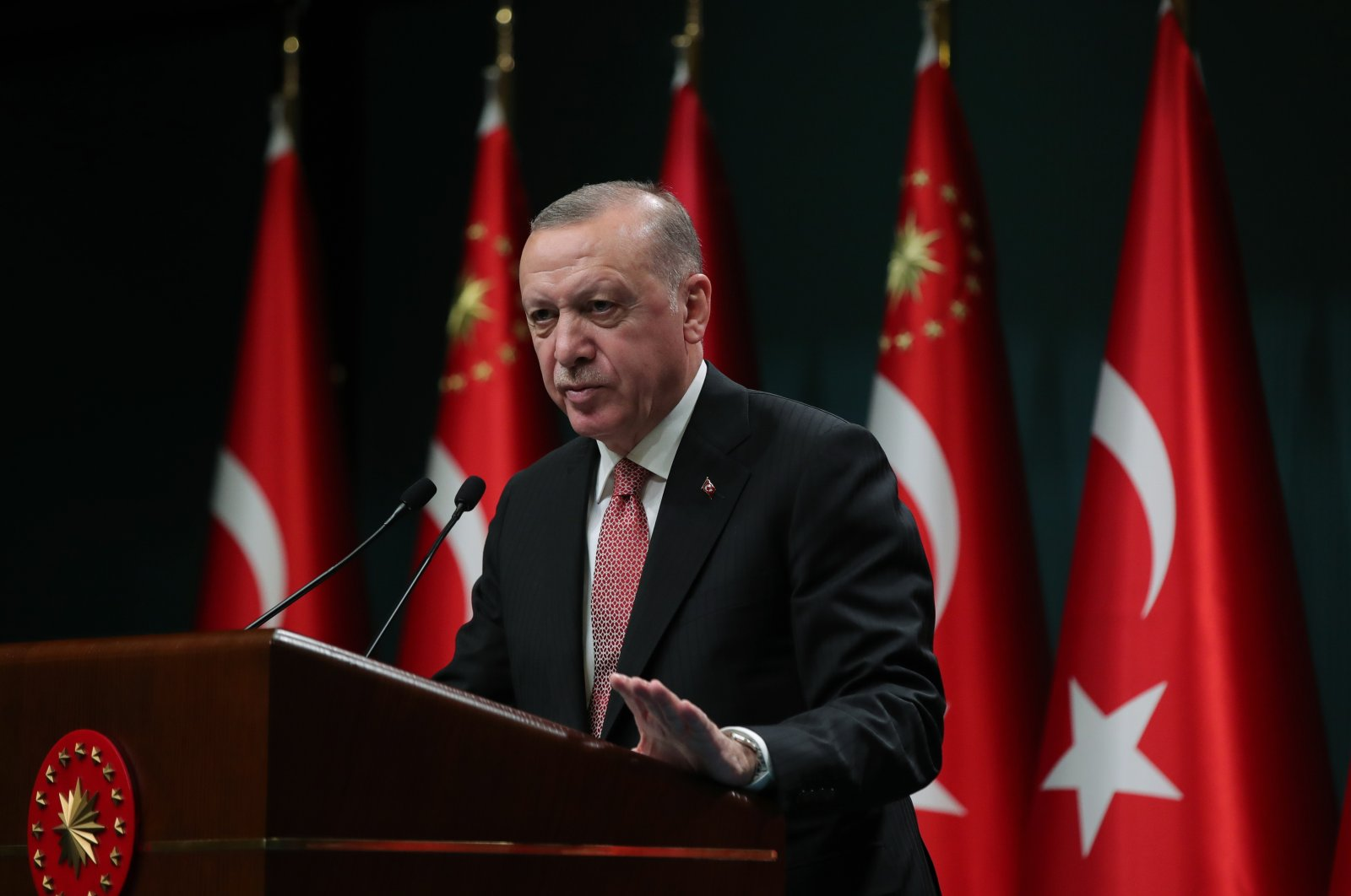 President Recep Tayyip Erdoğan delivers a speech after the Cabinet meeting in the capital Ankara, Turkey, June 21, 2021. (AA Photo)