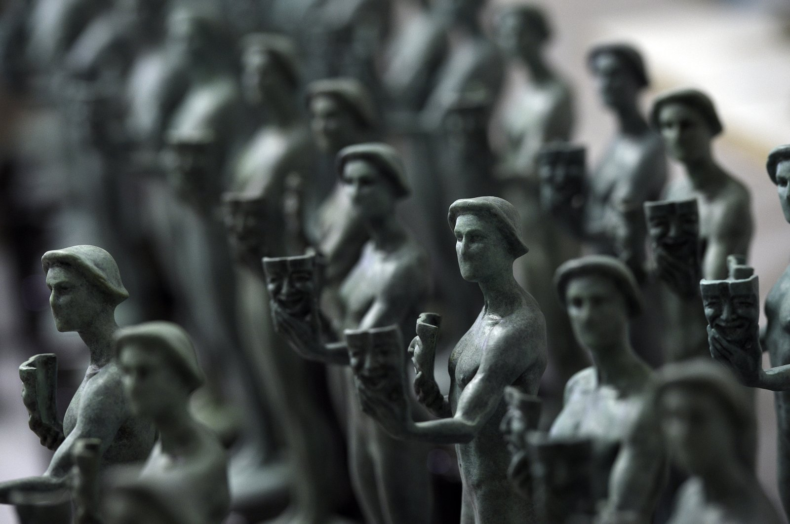 Finished Actor statuettes are displayed during the 25th annual Casting of the Screen Actors Guild Awards at American Fine Arts Foundry in Burbank, California, U.S., Jan. 15, 2019. (AP Photo)