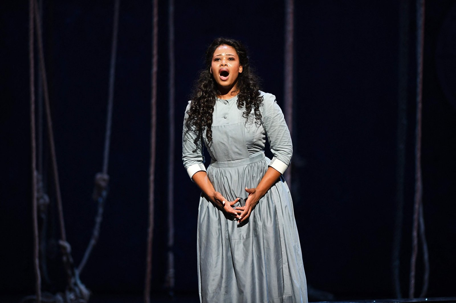 """South African soprano Pretty Yende performing in Italian composer Gaetano Donizetti's opera """"Lucia Di Lammermoor"""" at the Bastille Opera House in Paris, Oct.11, 2016. (AFP Photo)"""