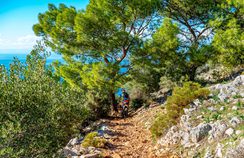A motocross biker drives on the trails of the Lycian Way between Adrasan and Kumlucu, Turkey, Dec. 9, 2020. (Shutterstock Photo)