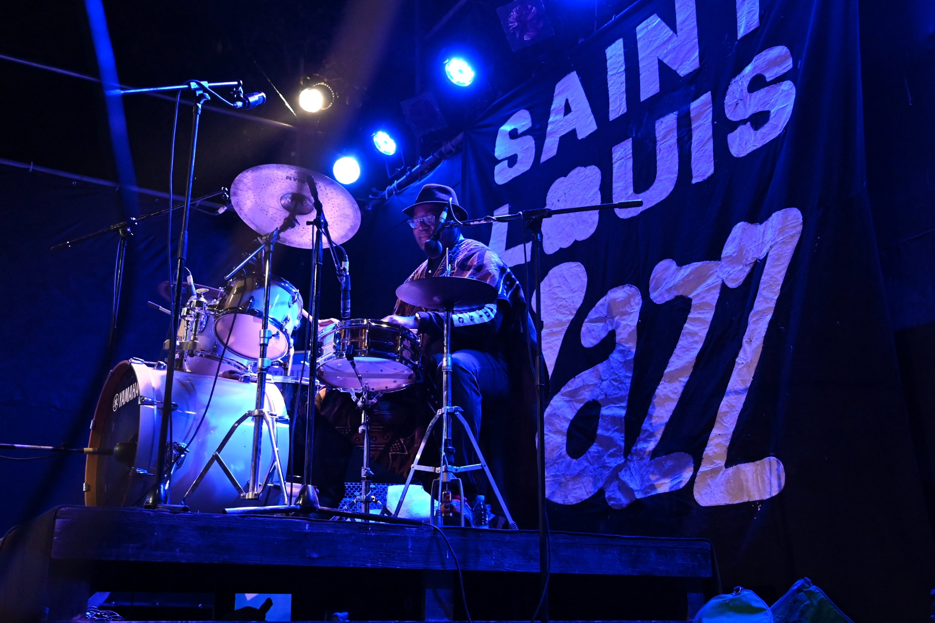 Drummer Jacques Eyuk performs on stage with his band JAMM at the Saint Louis Jazz Festival in Saint Louis, Senegal, June 18, 2021 (Reuters Photo)