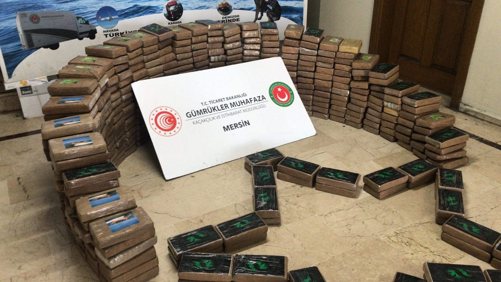 Seized cocaine stacked on display, in Mersin, southern Turkey, June 23, 2021. (AA PHOTO)
