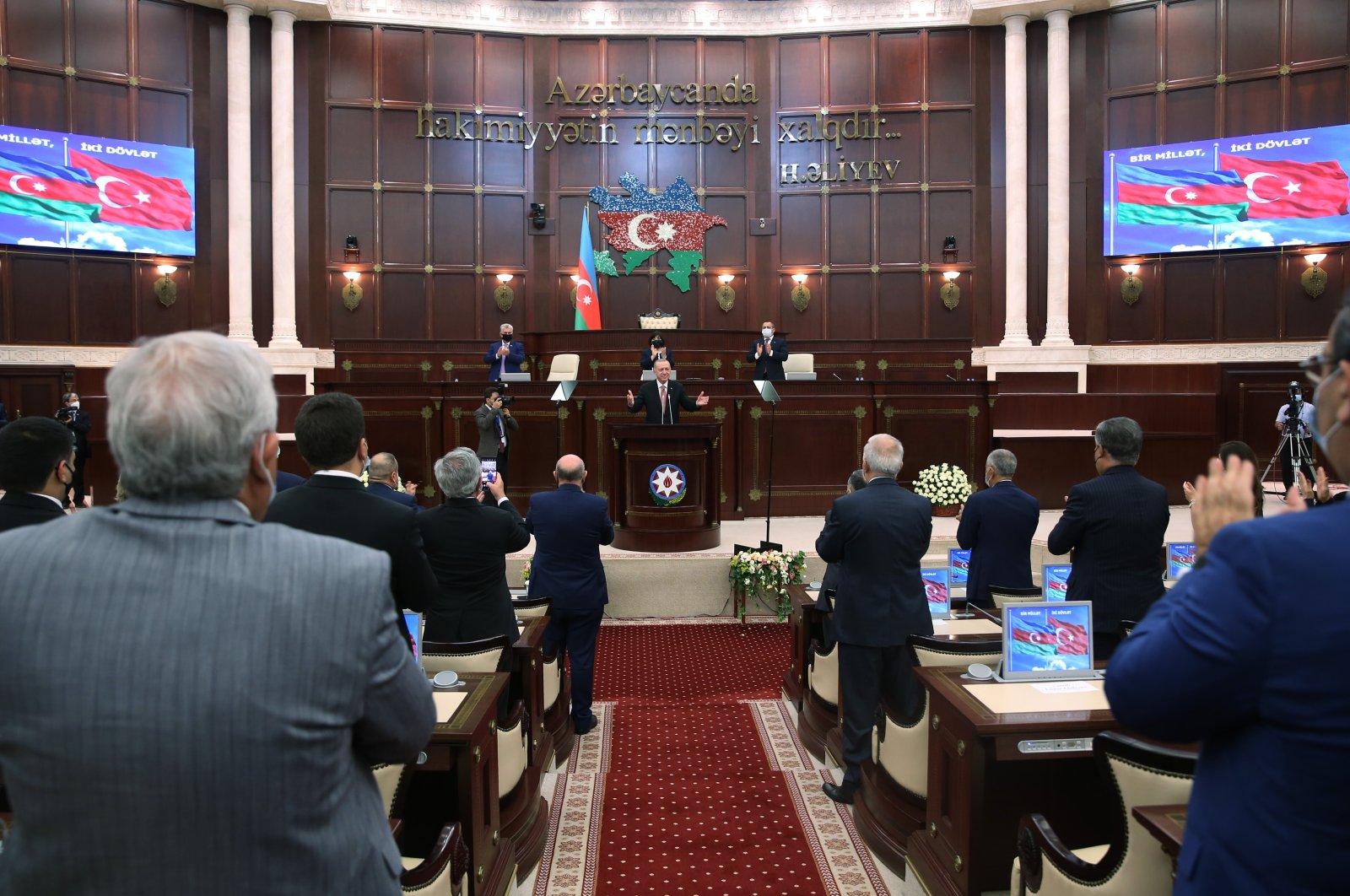 President Recep Tayyip Erdoğan addresses the Azerbaijani parliament, Shusha, Azerbaijan, June 16, 2021. (AA File Photo)