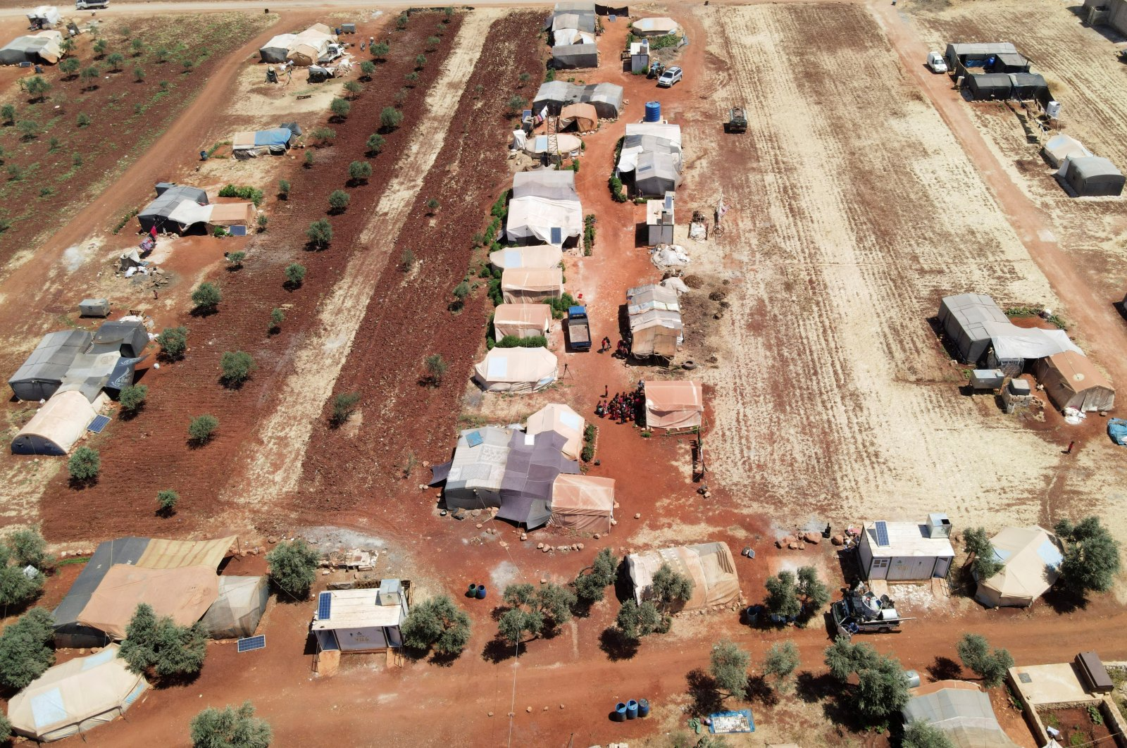 An aerial view shows tents at a camp for internally displaced people in northwestern Idlib, Syria, June 10, 2021. (REUTERS Photo)