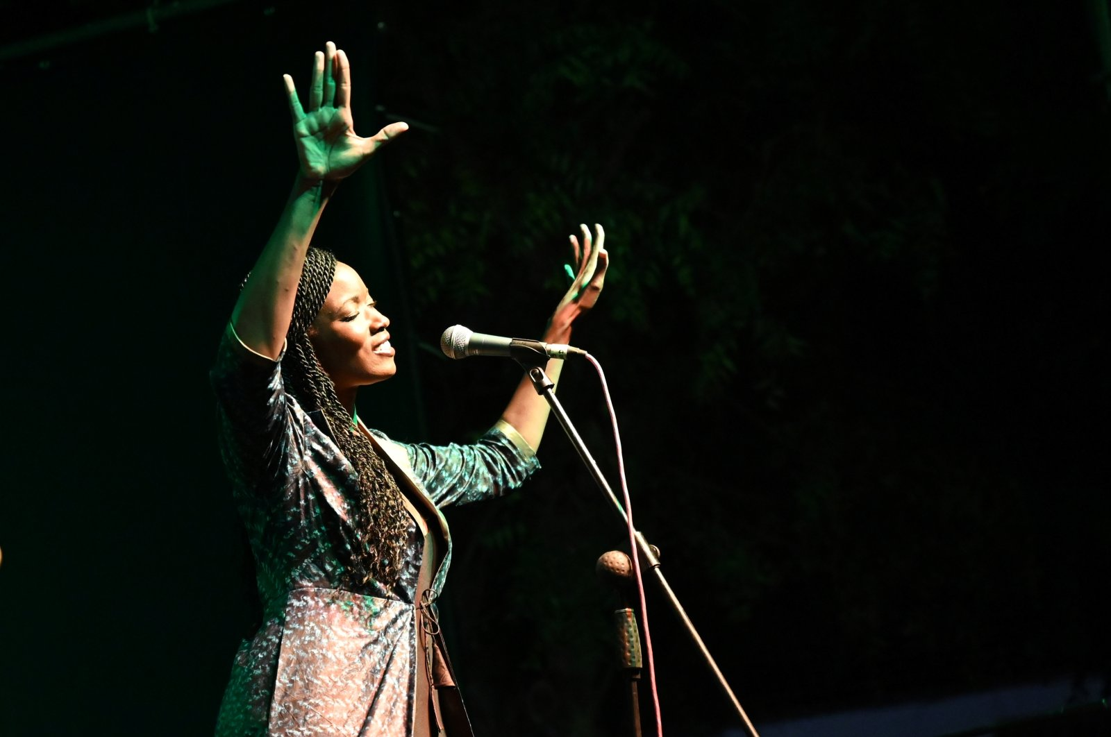 Singer Awa Ly performs on stage at the Saint Louis Jazz Festival in Saint Louis, Senegal, June 18, 2021. (Reuters Photo)