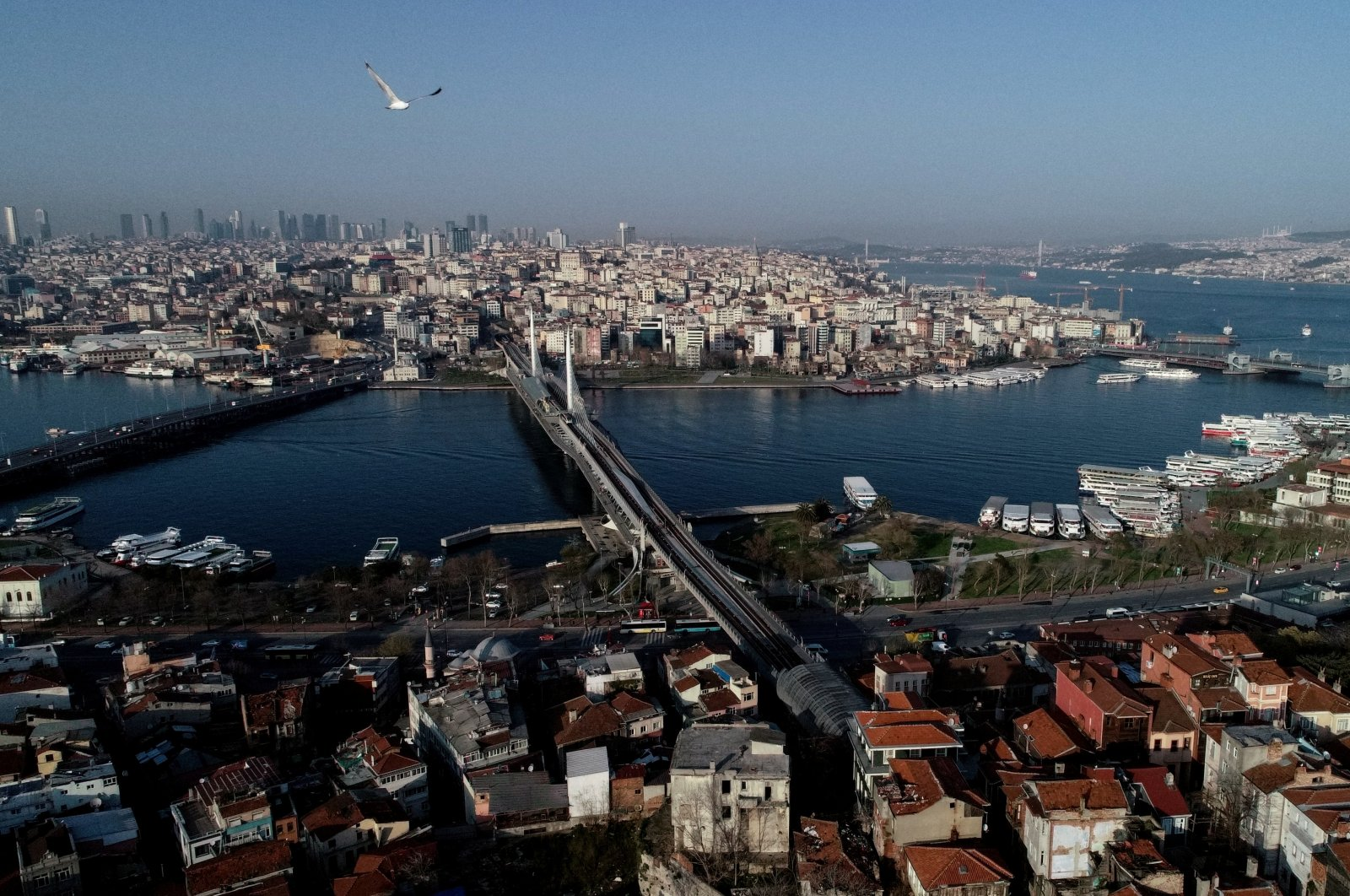 An aerial view of Istanbul during the COVID-19 outbreak, Turkey, March 30, 2020. (Reuters Photo)