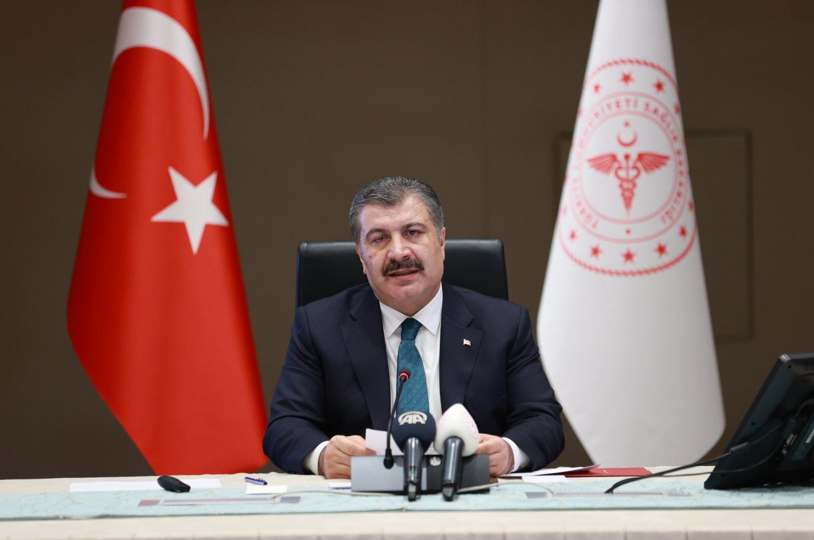 Health Minister Fahrettin Koca speaks during a press conference after a Coronavirus Scientific Advisory Board meeting in Ankara, Turkey, June 23, 2021. (AA Photo)