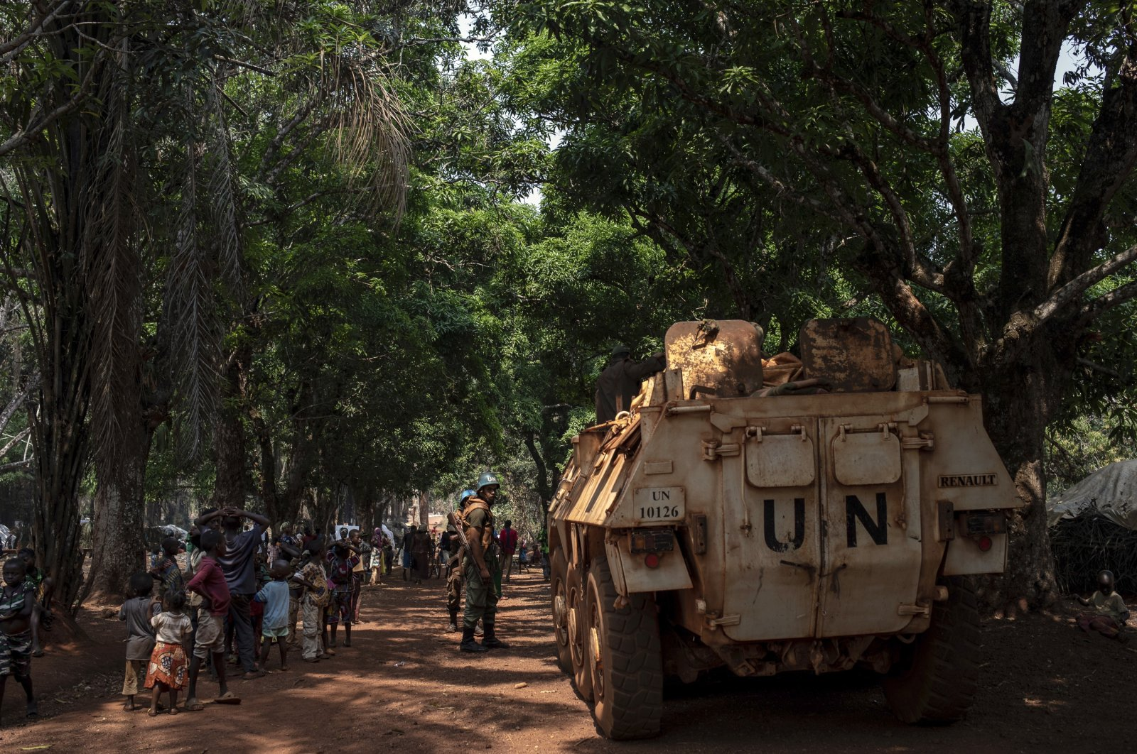 Moroccan U.N. peacekeepers patrol the village of Cesacoba, Central African Republic, Feb. 14, 2021. (AP Photo)