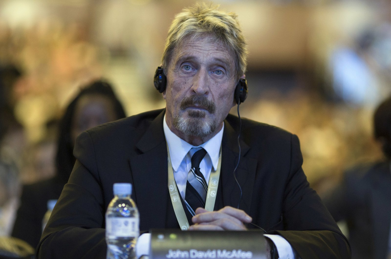 Founder of the first commercial antivirus program John McAfee listens during the 4th China Internet Security Conference (ISC) in Beijing, China, Aug. 16, 2016. (AP File Photo)