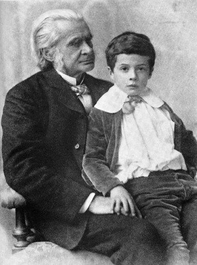 Thomas Henry Huxley with Julian Huxley in 1893.