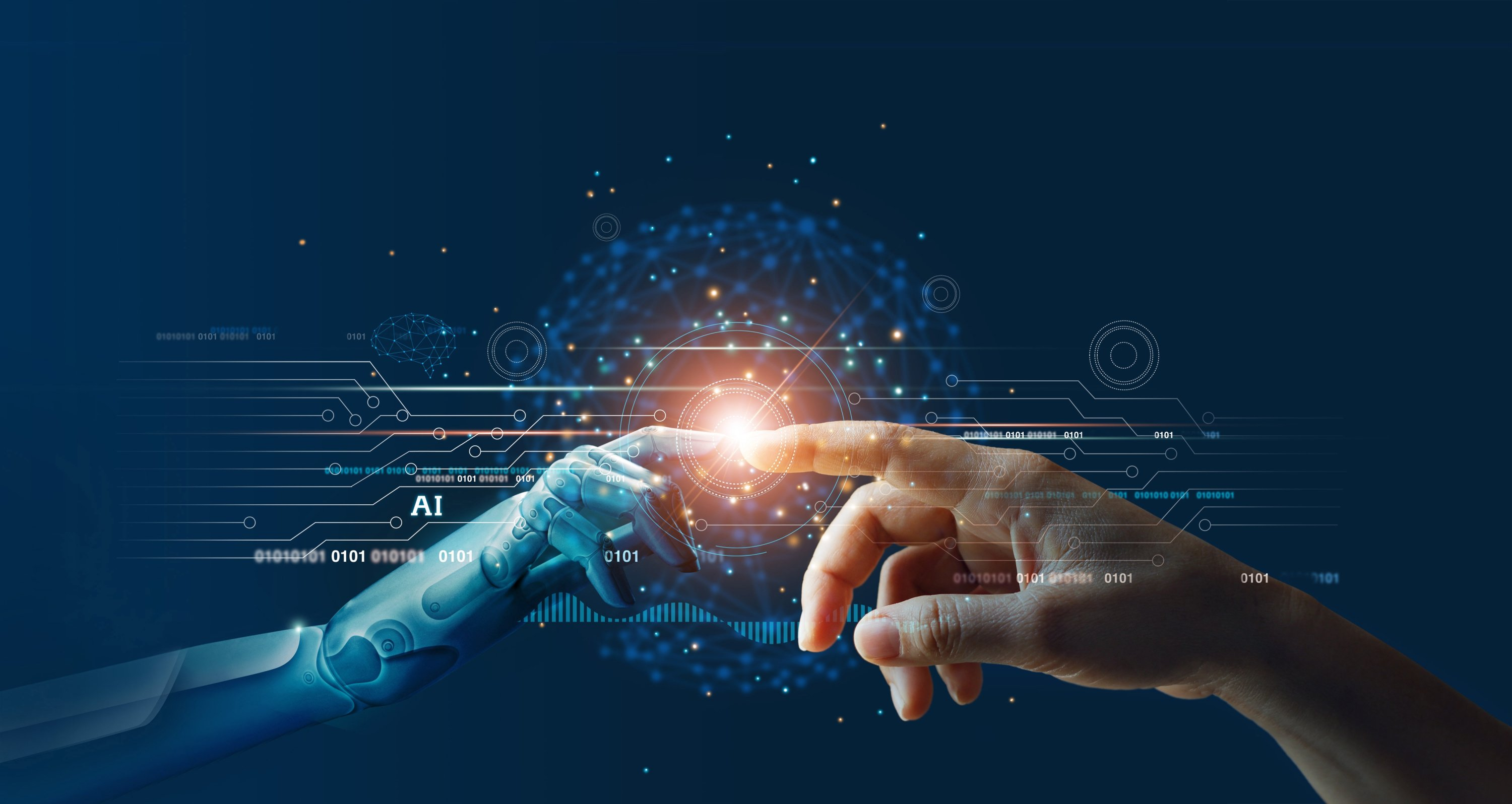 Hands of a robot and a human touching on big data network connection background.