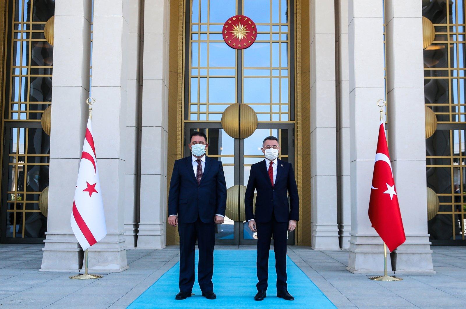 Turkish Vice President Fuat Oktay (R) receives TRNC Prime Minister Ersan Saner in the capital Ankara, Turkey, June 23, 2021. (AA Photo)