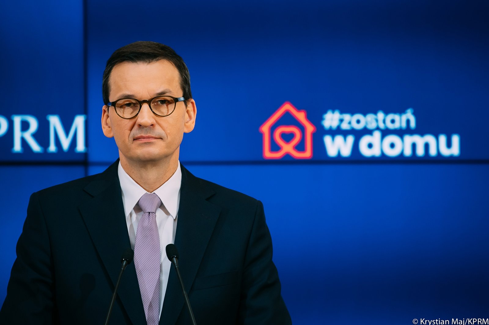 Polish Prime Minister Mateusz Morawiecki attends a conference in Warsaw, Poland, April 9, 2020. (Courtesy ofthe Consulate General of the Republic of Poland in Istanbul)
