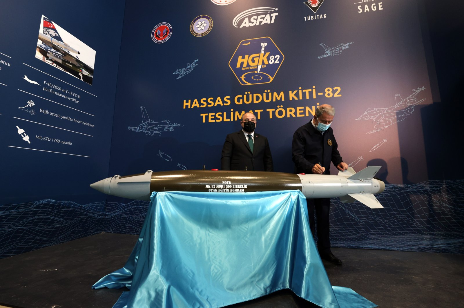 National Defense Minister Hulusi Akar (R) and Industry and Technology Minister Mustafa Varank (L) sign the HGK-82 during a ceremony held in Ankara, Turkey, June 24, 2021. (AA Photo)