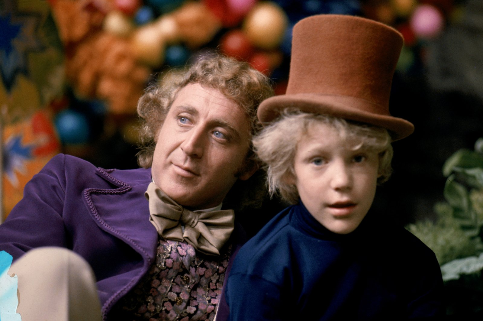 """Actor Gene Wilder (L) as Willy Wonka and Peter Ostrum as Charlie Bucket in the 1971 film """"Willy Wonka & the Chocolate Factory."""" (Warner Bros. via Reuters)"""