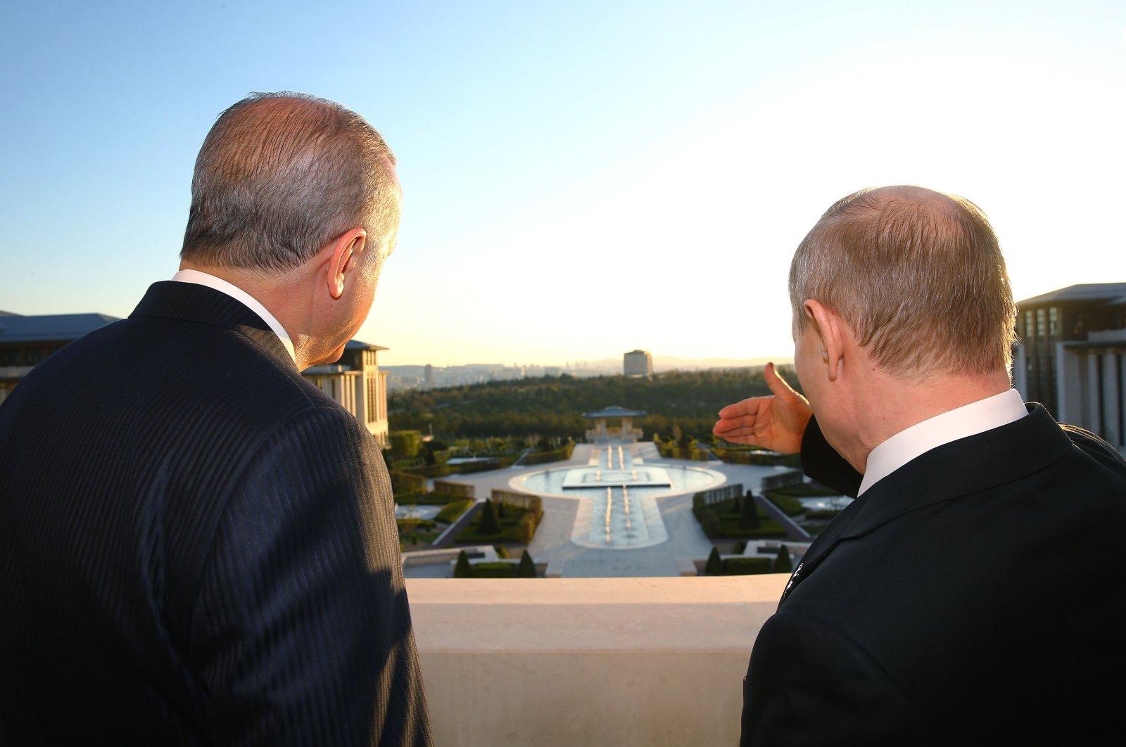 President Recep Tayyip Erdoğan and Russia's Vladimir Putin at the Presidential Complex in Ankara, Turkey, April 3, 2018. (Courtesy of the Presidency)