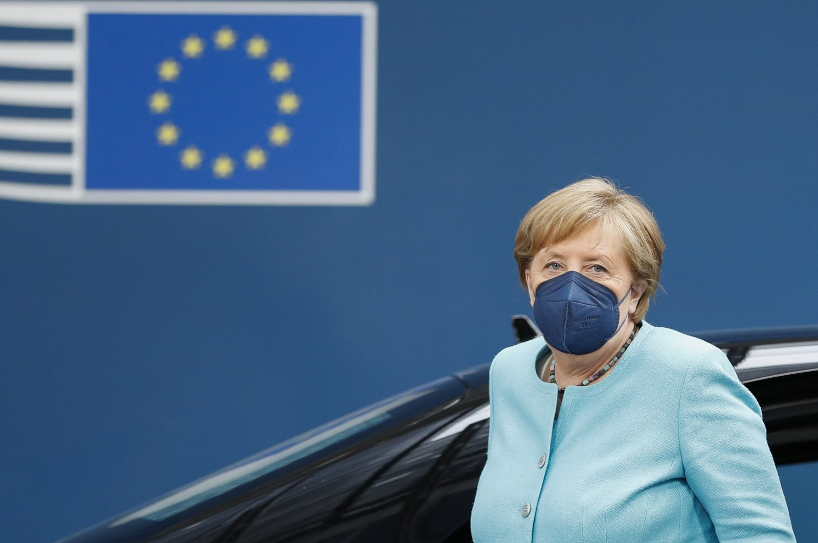 Germany's Chancellor Angela Merkel arrives for an EU summit at the European Council building in Brussels, Belgium, Thursday, June 24, 2021. (AP Photo)