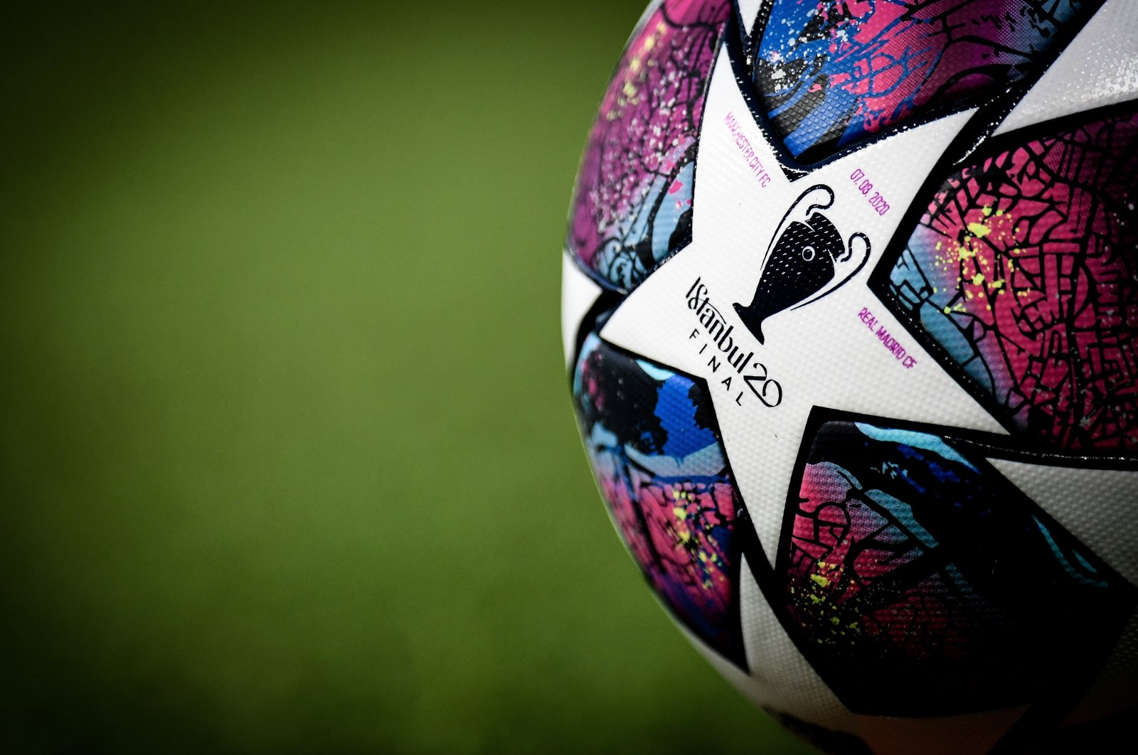 The official Adidas match ball on display during the UEFA Champions League round of 16, second leg soccer match between Manchester City and Real Madrid in Manchester, Britain, Aug. 7, 2020. (EPA Photo)