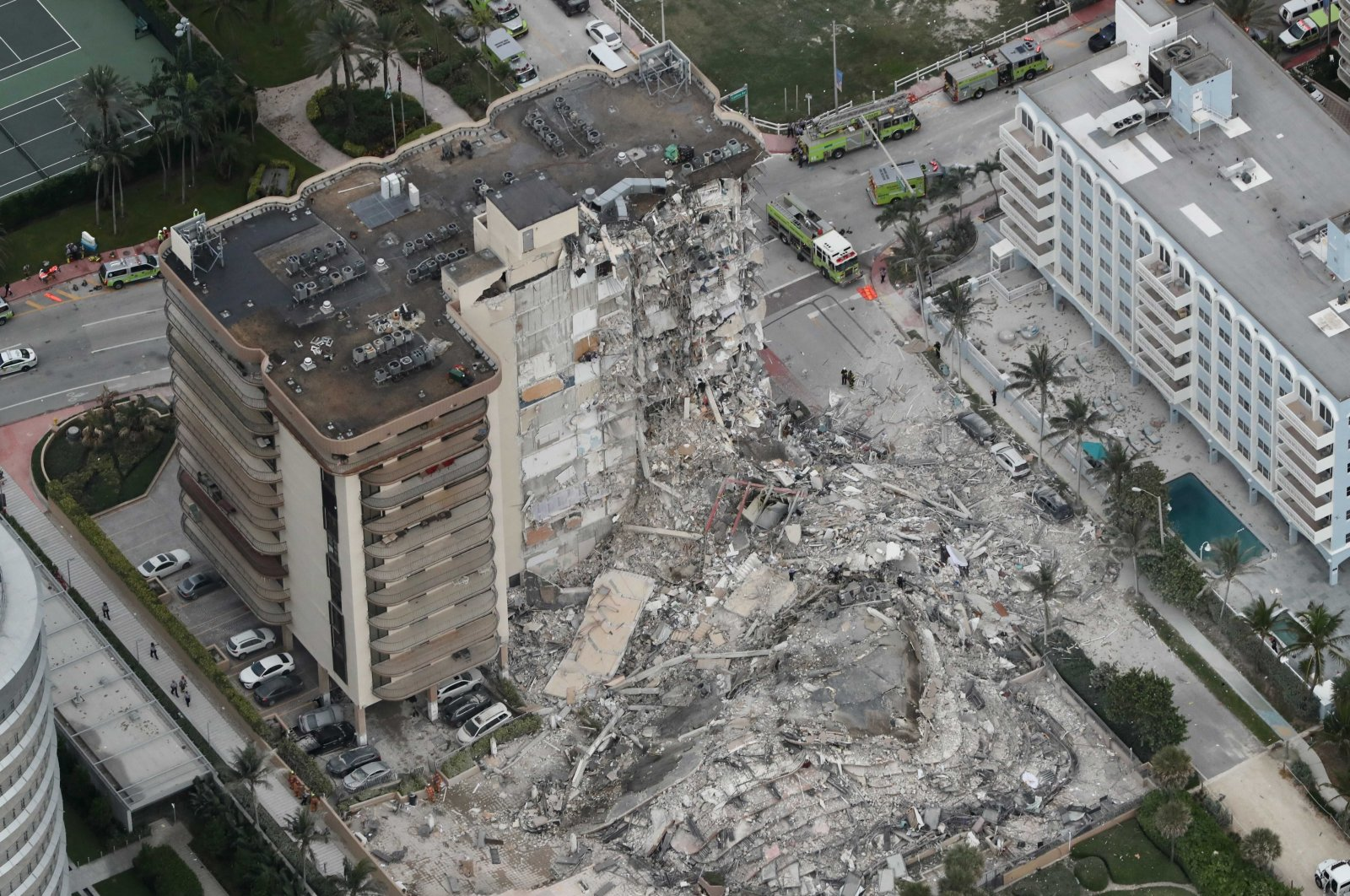 This aerial photo shows part of the 12-story oceanfront Champlain Towers South Condo that collapsed in Surfside, Florida, U.S., June 24, 2021. (AP Photo)