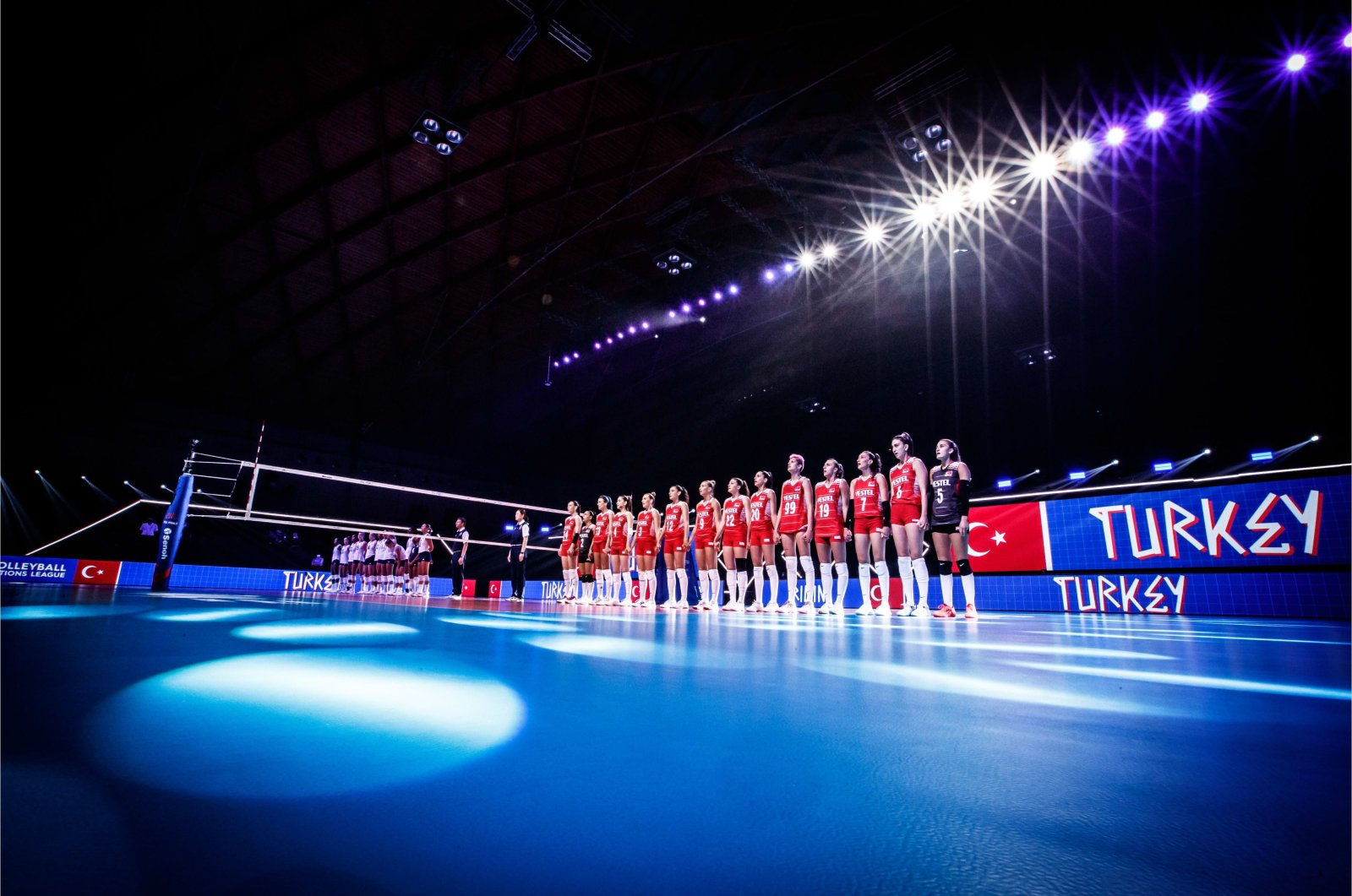 Turkish Women's National Volleyball team stand during the ceremony before the Volleyball Nations League semifinal match against the United States in Italy's Rimini, June 24, 2021 (IHA Photo)