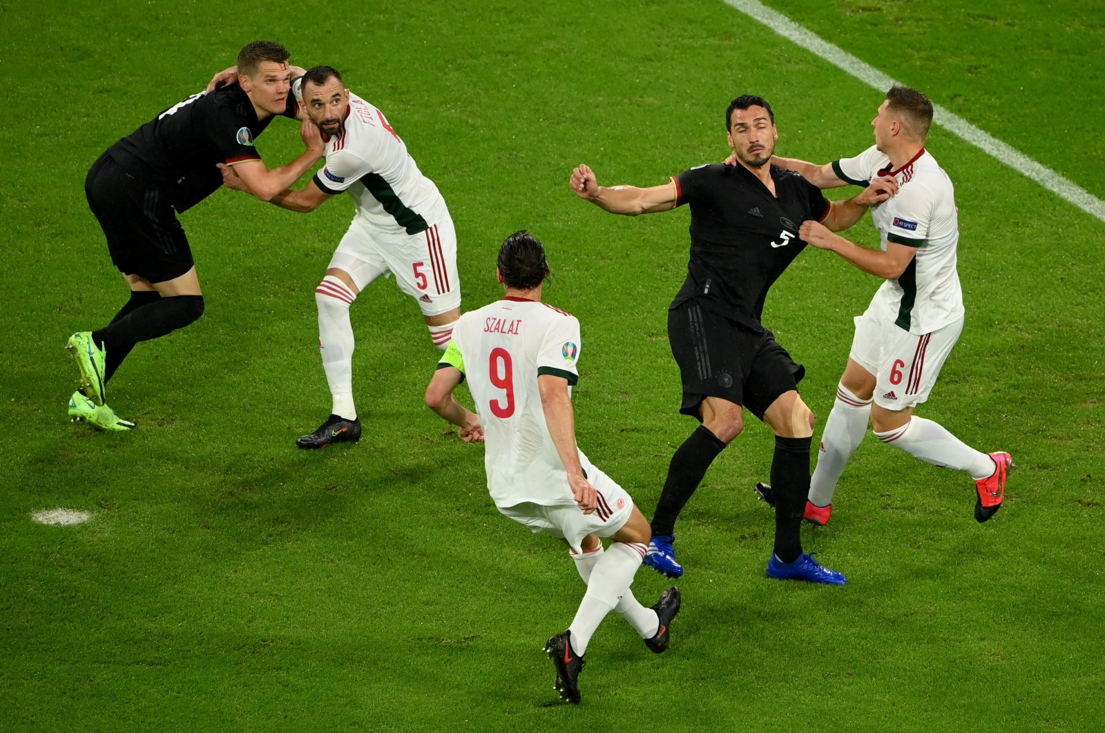 German and Hungarian footballers in action during their Euro 2020 Group F match in Munich, Germany, June 23, 2021. (Reuters Photo)