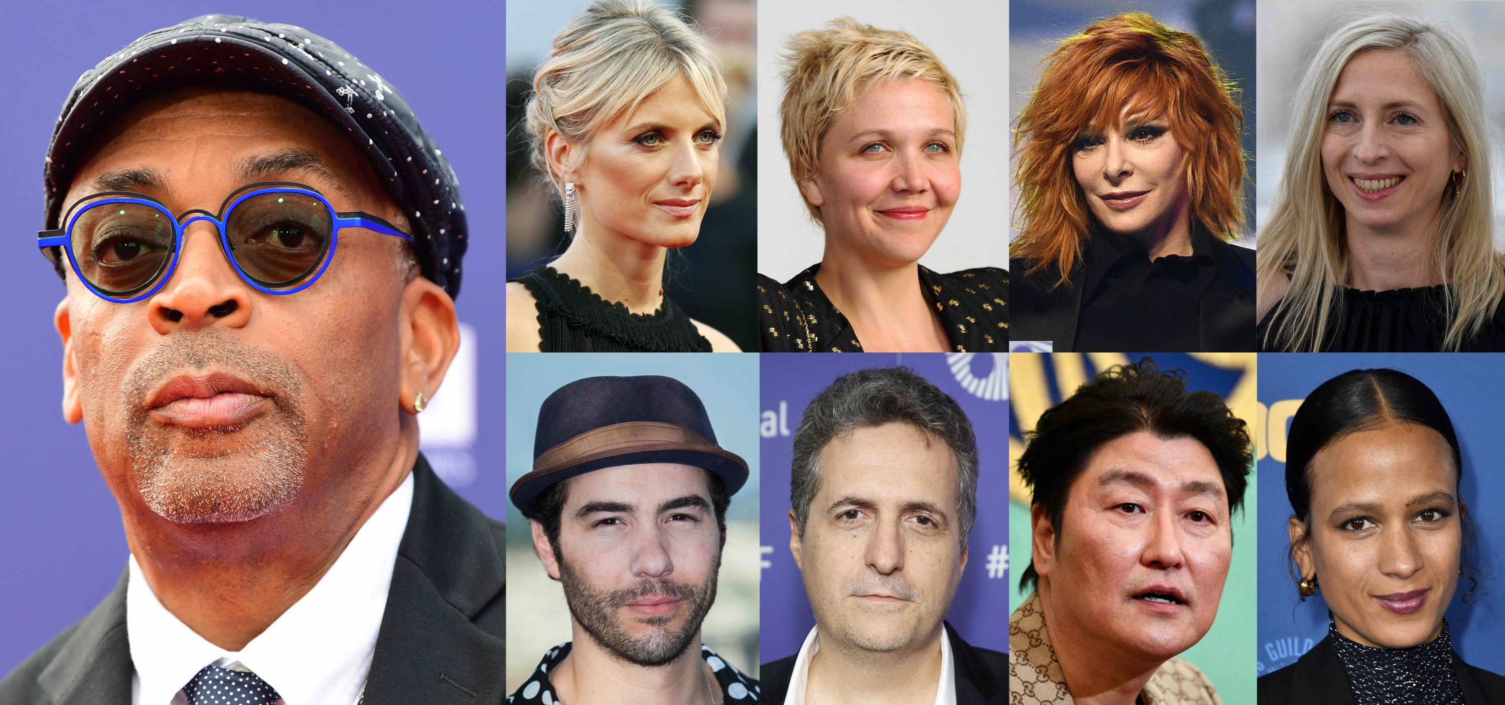 This combination of file pictures created on June 24, 2021 (from L, up to down) shows the Jury of the 74th Cannes Film Festival, including U.S. director Spike Lee, French actress and director Melanie Laurent, U.S. actress Maggie Gyllenhaal, French singer Mylene Farmer, Austrian film director Jessica Hausner, French actor Tahar Rahim, Brazilian director Kleber Mendonca Filho, South Korean actor Song Kang-ho and French movie director Mati Diop. (Photo by AFP)
