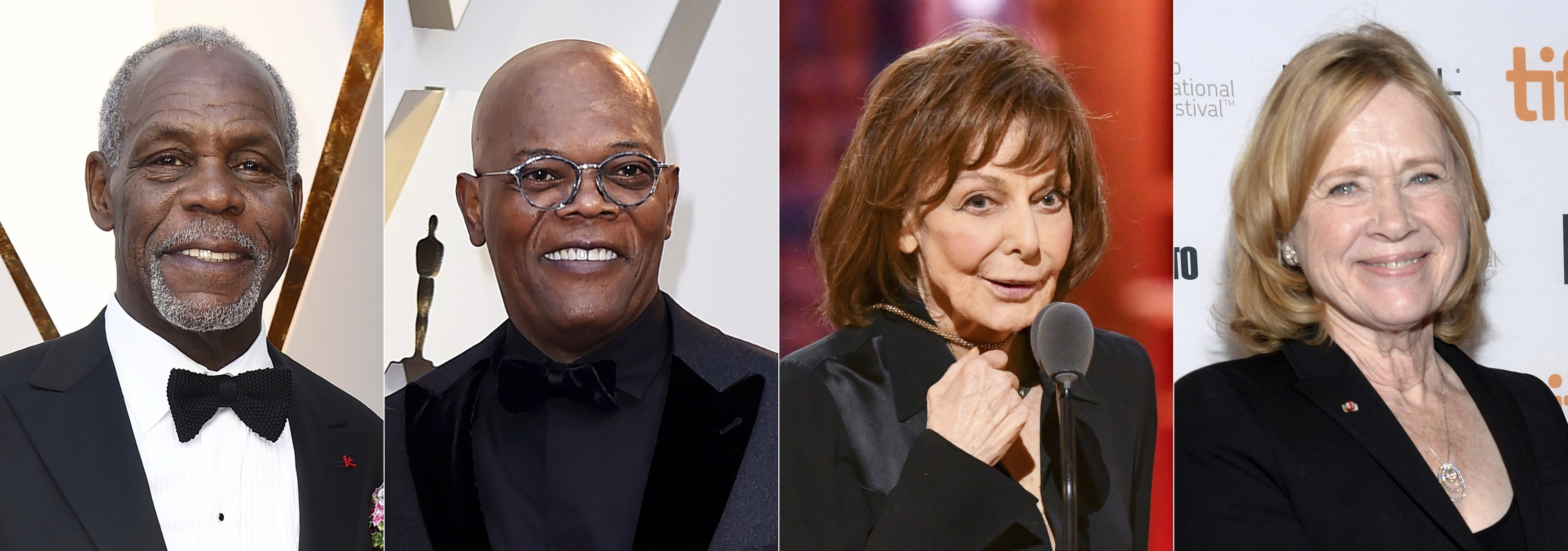 This combination of photos (L to R) shows Danny Glover, Samuel L. Jackson, Elaine May and Liv Ullmann, who will be honored at the 12th Governors Awards in January 2022. (AP Photo)