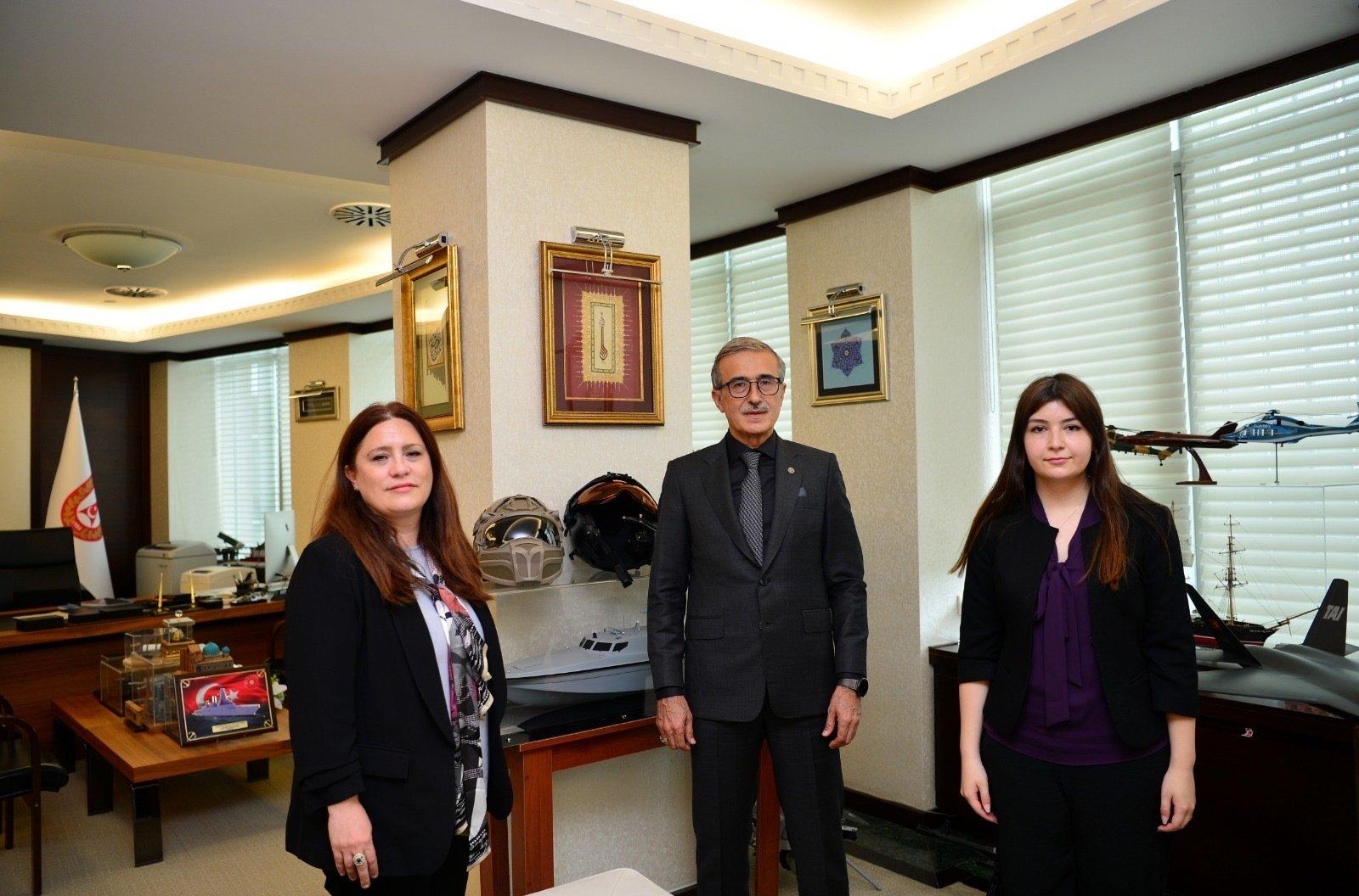 Presidency of Defense Industries (SSB) Chairperson Ismail Demir with Daily Sabah Ankara Representative Nur Özkan Erbay and Daily Sabah's Dilara Aslan at the SSB in Ankara, Turkey, June 24, 2021. (Courtesy of the SSB)