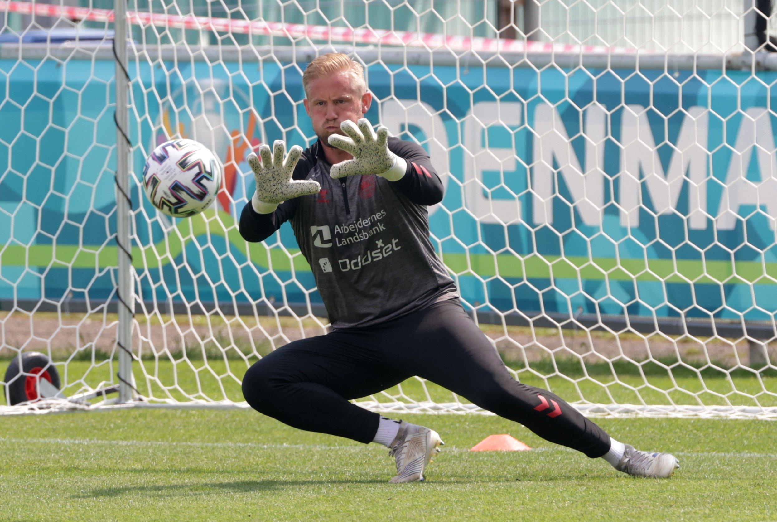 Denmark's Kasper Schmeichel during training in Helsingor, Denmark, June 19, 2021. (Reuters Photo)