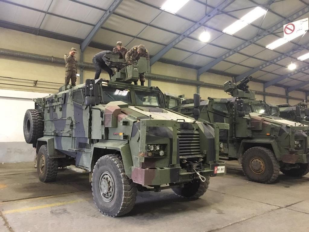 Kirpi mine-resistant ambush-protected (MRAP) vehicles produced by BMC are in Turkey. (AA Photo)