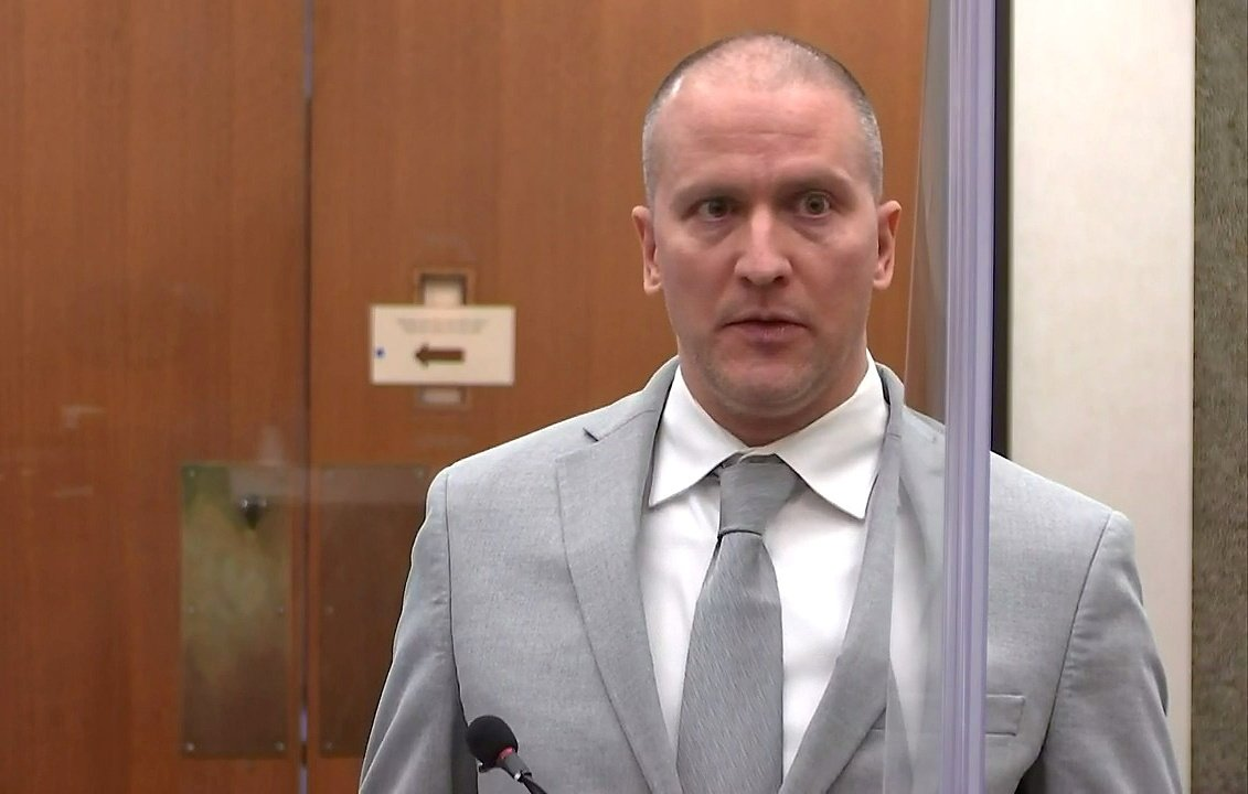 Former Minneapolis police officer Derek Chauvin addresses his sentencing hearing and the judge as he awaits his sentence after being convicted of murder in the death of George Floyd in Minneapolis, Minnesota, U.S., June 25, 2021. (Pool via Reuters)