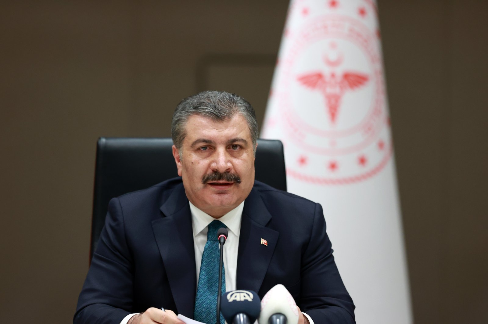 Health Minister Fahrettin Koca speaks at a press conference in Ankara, Turkey, June 23, 2021. (IHA Photo)