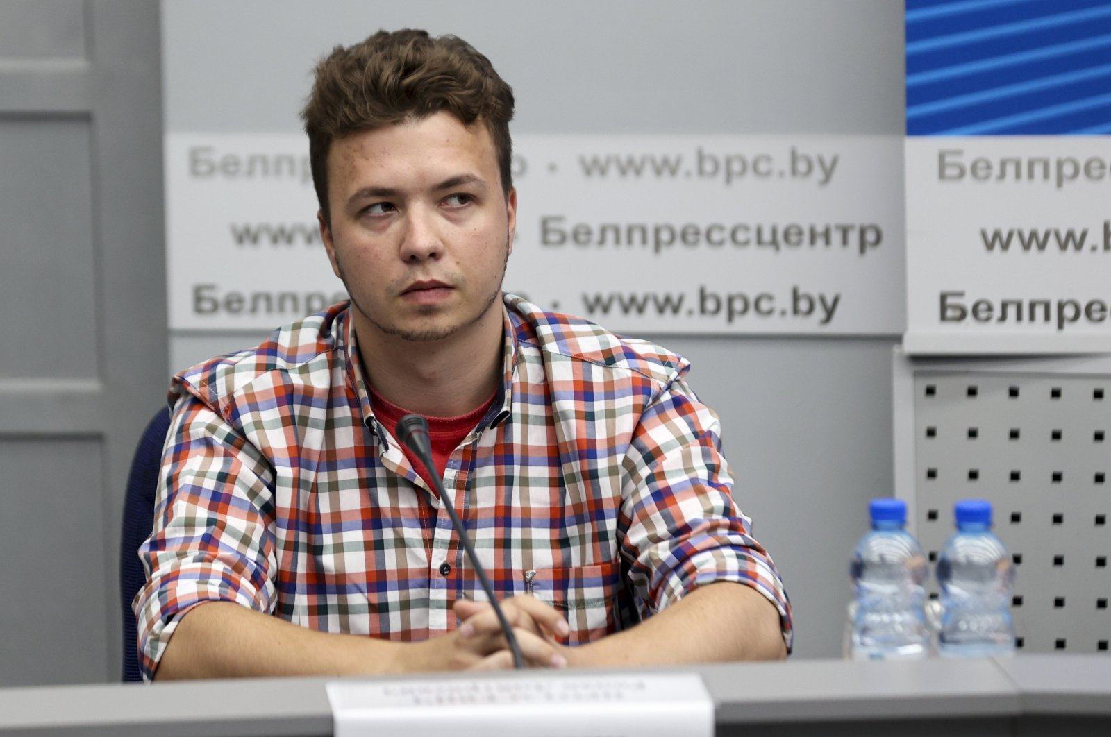 Belarusian dissident blogger Raman Pratasevich attends a news conference at the National Press Center of Ministry of Foreign Affairs in Minsk, Belarus, June 14, 2021. (AP Photo)
