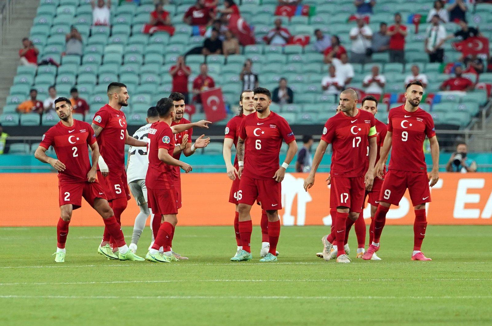 Turkish national players react during their Euro 2020 Group A match against Wales in Baku, Azerbaijan, June 16, 2021. (IHA Photo)