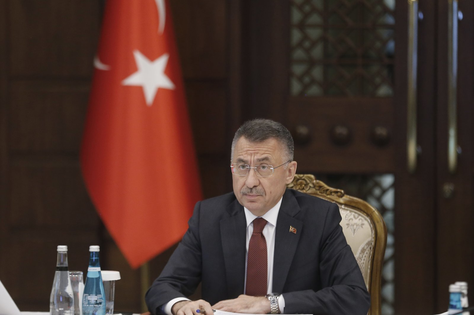 Vice President Fuat Oktay speaks at a press conference in Presidential Complex, Ankara, June 24, 2021. (AA Photo)