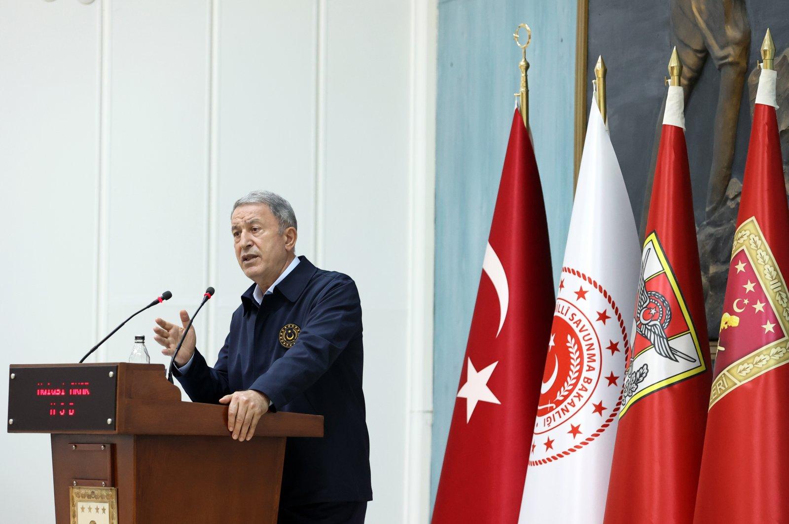 Defense Minister Hulusi Akar addresses military personnel in Malatya, eastern Turkey, June 25, 2021. (AA Photo)