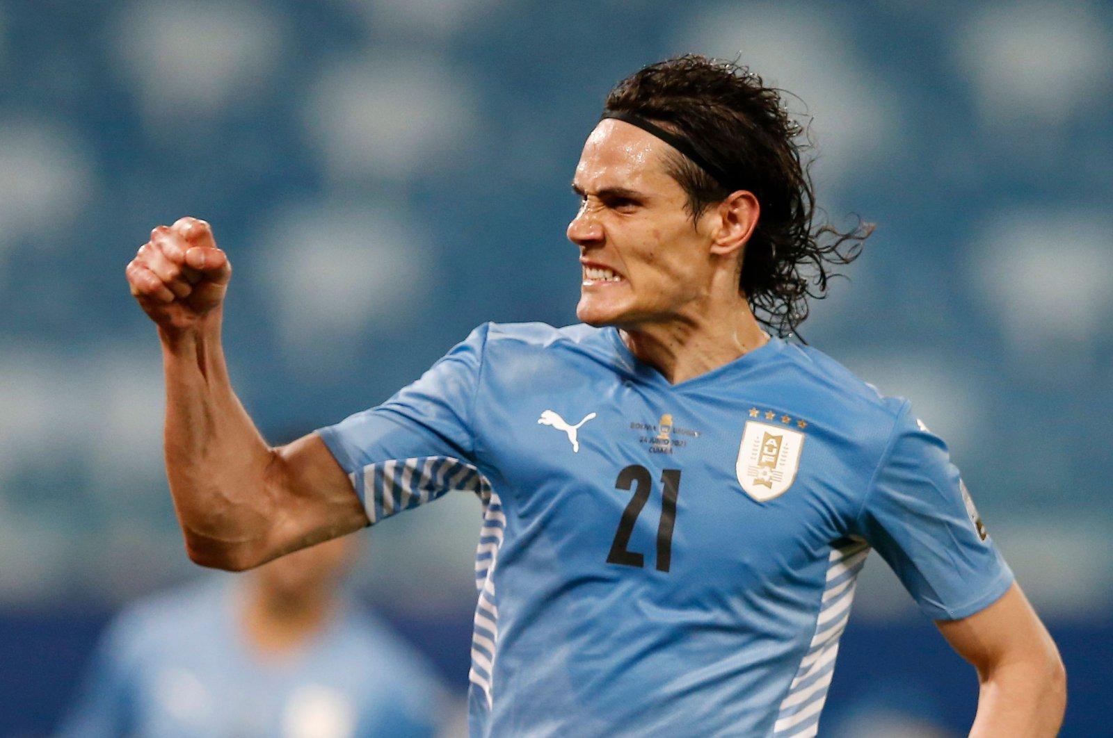 Uruguay's Edison Cavani celebrates scoring his team's second goal in a Copa America Group A match against Bolivia, Cuiaba, Brazil, June 24, 2021. (Reuters Photo)