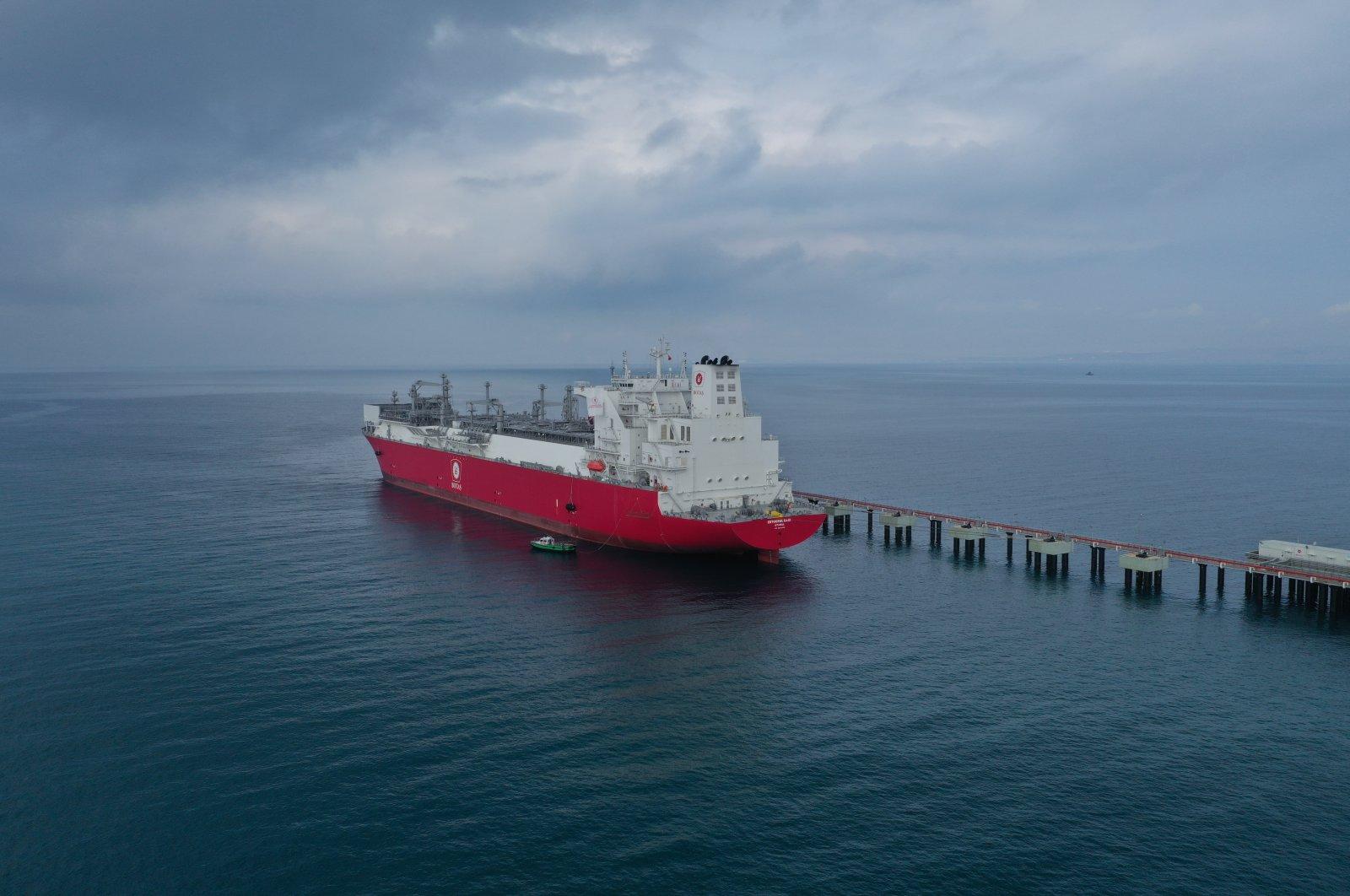 Ertuğrul Gazi FSRU docked at Dörtyol, Hatay, southern Turkey, June 25, 2021. (AA Photo)