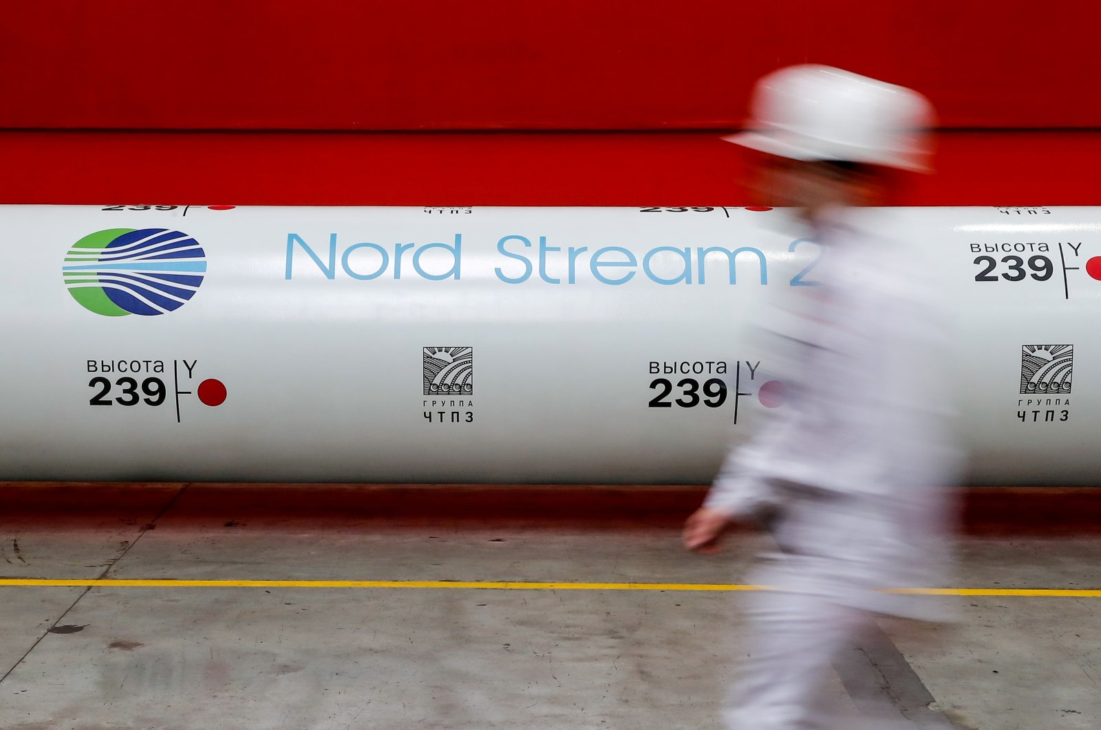 The logo of the Nord Stream 2 gas pipeline project is seen on a pipe at the Chelyabinsk pipe rolling plant in Chelyabinsk, Russia, Feb. 26, 2020.  (Reuters Photo)
