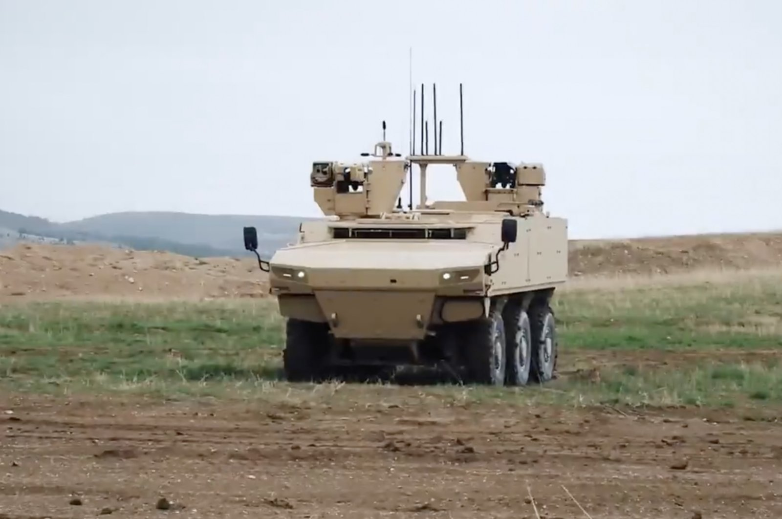A screen grab from a video showing the PARS IV 6x6 from Turkish armored vehicle manufacturer FNSS.