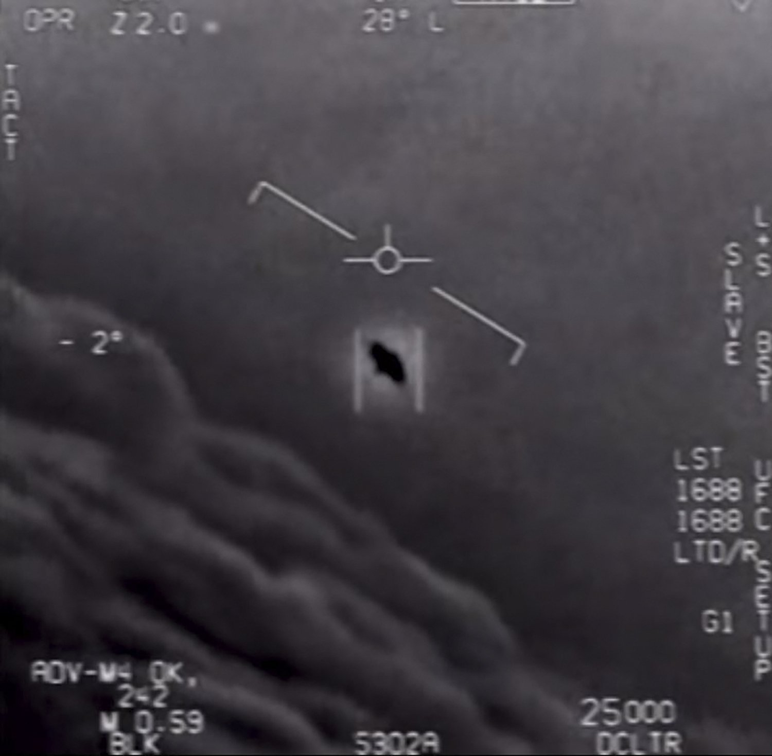 """This file video grab image obtained courtesy of the U.S. Department of Defense, shows part of an unclassified video taken by Navy pilots showing interactions with """"unidentified aerial phenomena,"""" April 26, 2020.  (AFP Photo)"""
